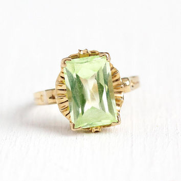 Created Spinel Ring - 14k Rosy Yellow Gold Rectangular Cut Light Green Stone Statement - 1940s Size 6 3/4 Retro Gleamlight 40s Fine Jewelry