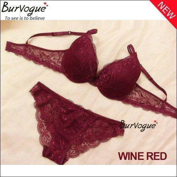19a6d27ff98 Burvogue Women s Push Up Embroidery Bras Set Lace Lingerie Bra and Panties    193299712