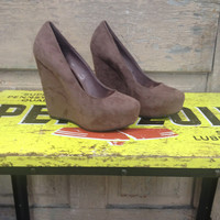 Taupe Suede Wedge