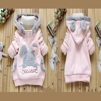 New Fashion Baby Children Clothing Winter Jacket Cartoon Rabbit Fashion Clothes Fleeces Jackets with Hood Children's Wear Sweater = 1932496196