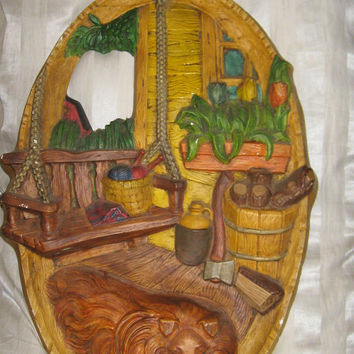 Vintage large oval   chalkware country farm porch  3 D wall plaque