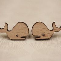 Wood Whale Earrings, Wooden, Small Ear Posts, Little, Surgical Stainless Steel Backing, Nautical, Animal, Miniature Jewelry, Ocean Jewellery