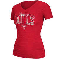 adidas Chicago Bulls Ladies Original Crazy Foil V-Neck T-Shirt - Red
