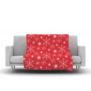 "Julie Hamilton ""Snowflake Berry"" Holiday Fleece Throw Blanket"