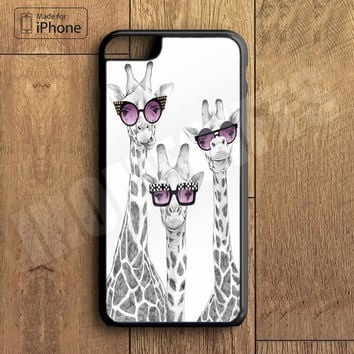 Cute Giraffe with Sunglass Plastic Phone Case For iPhone 6 Plus More Style For iPhone 6/5/5s/5c/4/4s