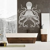 ik1212 Wall Decal Sticker octopus marine animals living room bathroom