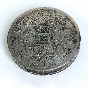 Sterling Silver Italian Engraved Compact