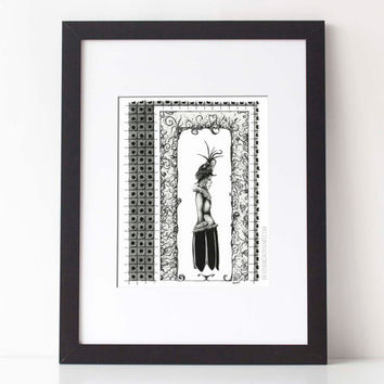 SOLEMNITY: black and white art, pen ink illustration, pen ink, pen drawing,traditional illustration, 8x10 Limited Edition Fine Art Print
