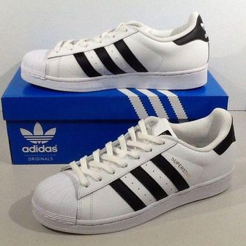 CHEN1ER ADIDAS Women's Originals Superstar Size 9 White Leather Athletic Shoes XJ-598