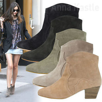 AnnaKastle New Womens Western-Inspired Genuine Suede Ankle Boots US 5 6 7 8