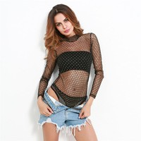 2017 Long Sleeve Sexy See Through Bodysuit Women Crew Neck Grid Glitter Bodysuit Tops Elegant Overalls Black Sheer Mesh Bodysuit
