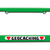 Geocaching Love with Hearts License Plate Frame