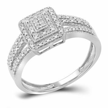 10kt White Gold Womens Round Diamond Square Cluster Bridal Wedding Engagement Ring 1/6 Cttw