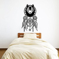 Wall Decal Vinyl Sticker Decals Art Home Decor Murals Wolf Dreamcatcher Dream Catcher Feathers Roses Flowers Night Symbol Decoration Bedroom Dorm Decals AN210