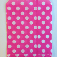 25 Hot Pink Polka Dot favor bags / Treat Bags / Wedding Favor Bags / Birthdays / Party Favor Bags / Polka Dot Paper Treat Bags / Bakery Bags