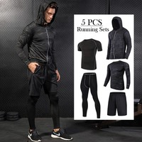 2018 Running Set Quick-Dry Men's Gym Clothes Elastic Compression Tights Fitness Workout Sports Jogging Suits Sportswear 3-5pcs