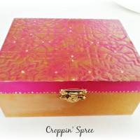 Handmade Indian Jewellery or Trinket Box. Tarot Card Storage. Wooden, Ornate, Ready to Ship. Layered with Paint and Hardware.Pink and Gold