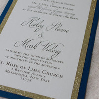 Blue and Gold Wedding navy and gold wedding invitations nautical wedding sprarkle wedding invites navy and gold glitter wedding inviations