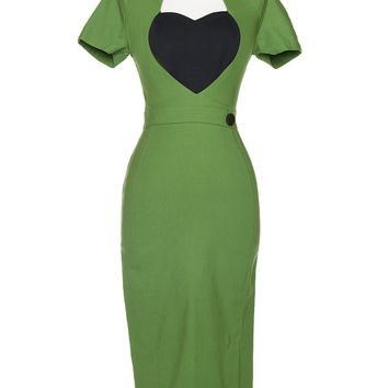 Pinup Couture Plus Size Veronica Dress in Green with Black Heart