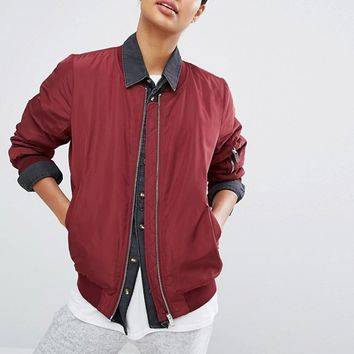 Vila Zip Detail Bomber Jacket at asos.com