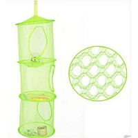 Hanging Polyester Mesh Storage Basket Toys Organizer 3 Compartments