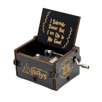 MOONBIFFY 2018 Hot Antique Carved Harry P0tter Music Box Game of Thrones Music Box Star Wars Wooden Hand Crank Theme Music