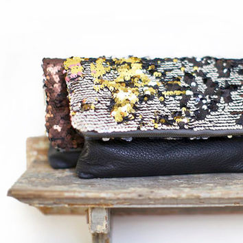 Sequin Clutch, Women's Leather Purse, Holiday Sparkle