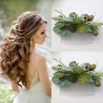 Succulent Hair Comb Bridal succulent hair comb, succulent hair clip Mini Succulents