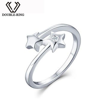 DOUBLE-R Women Diamond rings Real 925 Sterling Sliver Jewelry Female Star Wedding Rings Romantic Real Diamond Jewelry Gift box