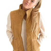 Alpine Quilted Vest In Camel