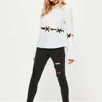 Missguided - White Flare Sleeve Lattice Blouse