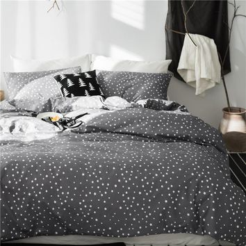 Grey star 100%Cotton Cute Kids Twin Bedding Set Queen King Double size Bed set Duvet/Quilt cover Bed sheet set soft Bedlinens