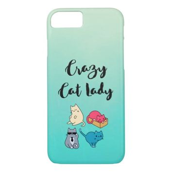 Crazy Cat Lady and 4 Cute Cats iPhone 7 Case