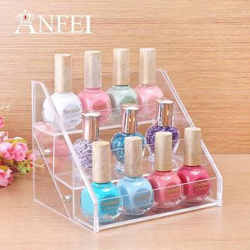 Makeup Organizer Boxes Cosmetics Storage Box Cosmetic Three Layers 12 bottle Nail Polish Display Stand Rack Holder Organizer