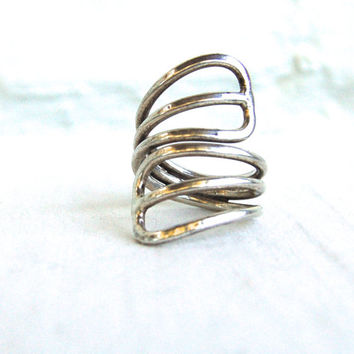 Vintage Adjustable Ring Mexican Sterling Silver Wing Shell Size 8