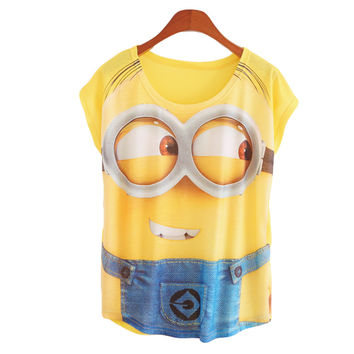 New Fashion Women T Shirts Short Sleeve Print Minion and Spongebob T-Shirts Female Cartoon loose Tops Cross Tee Lady T-Shirts