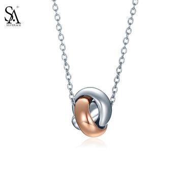 SA SILVERAGE Real 925 Sterling Silver Women Necklaces Pendants Love Knot Rose Gold Plated Round Necklaces Trendy Jewelry