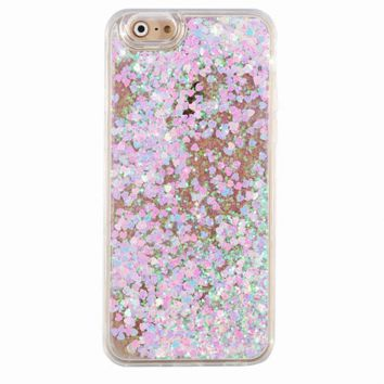 Holographic Hearts Dual Glitter iPhone Case