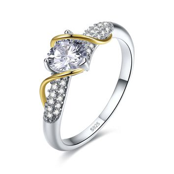 Merthus 2.65ct Heart Shaped 2-Tone Wire Promise Engagement CZ Ring Jewelry 925 Sterling Silver
