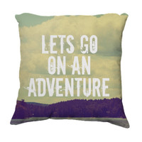 "Throw Pillow-Home Decor-""Let's Go"" 18 x 18 Wanderlust Pillow-Inspirational Typography-Home Decor-"