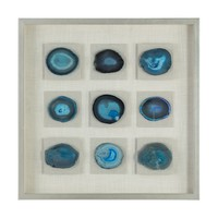 Cerulean Blue Agate Stone Shadow Box Wall Decor by Uttermost
