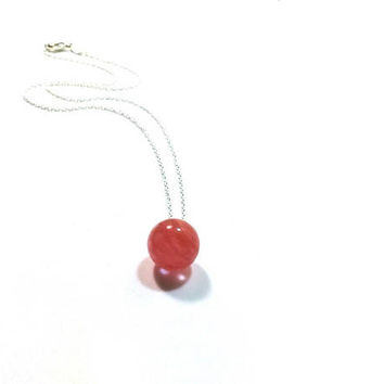 Watermelon Tourmaline   Pendant  , Pink Tourmaline Drop Pendant , Sterling Silver Chain , Gift For her