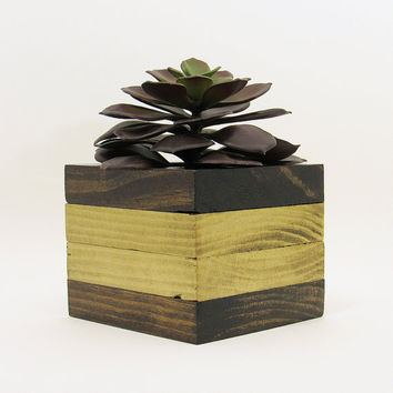 Succulent Planter, Wood Planter, Succulent Pot, Modern Planter, Air Plant Holder, Planter Box, Geometric Planter, Indoor Planter, Gold