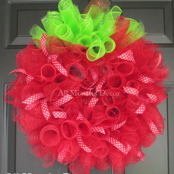Red Apple Deco Mesh Wreath with Ribbons