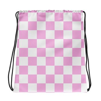 Pink Checkerboard Drawstring Bag