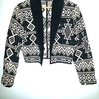 80s JACKET NEW IDENTITY Southwestern Navajo Cropped Hand Loomed Baja Aztec Hippie Boho Tribal  Made in India Color Black and White Size L