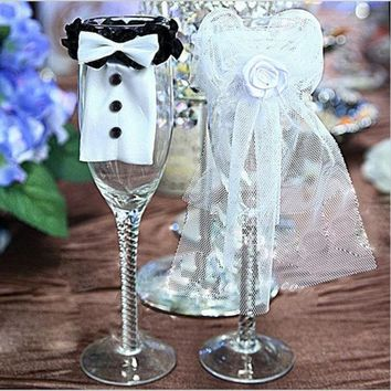 PEAPIX3 2Pcs Cute Bride & Groom Bow Tux Bridal Veil Wedding Party Toasting Wine Glasses Decor = 1930080516