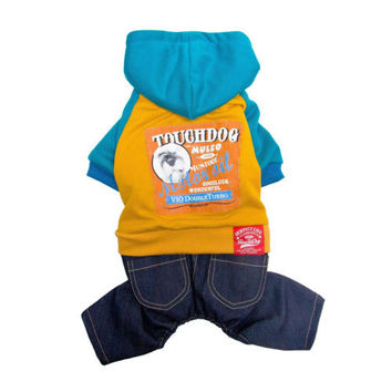 Dog Clothes Jeans and Hoodie in Yellow/Teal