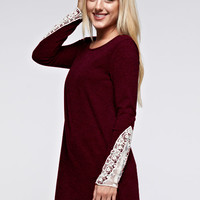 Lace Cuff Tunic Dress - Burgundy