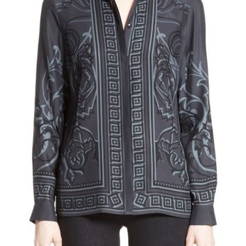 Versace Collection Baroque Print Silk Blouse | Nordstrom